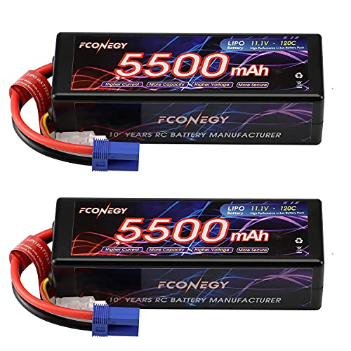 FCONEGY 3S Lipo Battery 11.1V RC Battery Pack 5500mAh 120C Hardcase with EC5 Connector for RC Car Truck Truggy Boat,RC Racing (2 Packs)