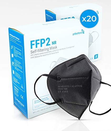 Mascarilla FFP2 Negra - (Caja 20 Unidades). Homologada Certificado CE - Ultraresistente - Individualmente Embolsado - Mascarillas Desechables color negro
