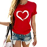 Cicy Bell Womens Valentines Day Shirts Cute Love Heart Graphic Casual Short Sleeve Tees Tops Red