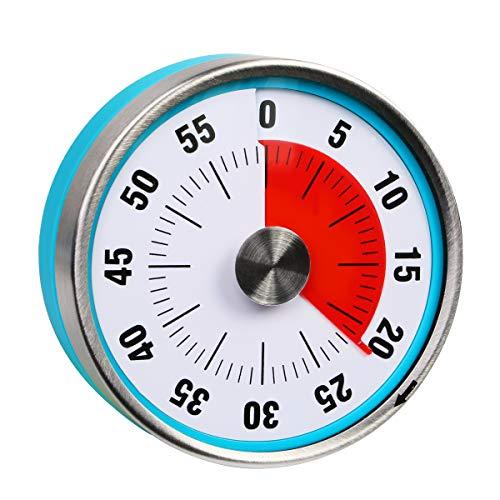 Reloj de cuenta regresiva de 7,8 cm, analógico, con temporizador, 60 minutos, para cocina, profesor, aula, reuniones, niños, adultos (color azul)