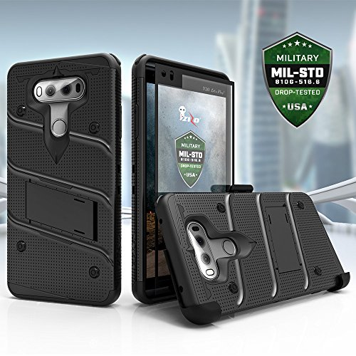LG V20 Case, Zizo [Bolt Series] with FREE [LG V20 Screen Protector] Kickstand [12 ft. Military Grade Drop Tested] Holster Belt Clip - Case for LG V20 Black/Black