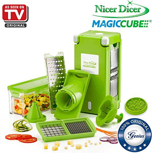 Nicer Dicer Magic Cube by Genius | 13 pieces | Fruit and vegetable slicer | As seen on TV (Green)