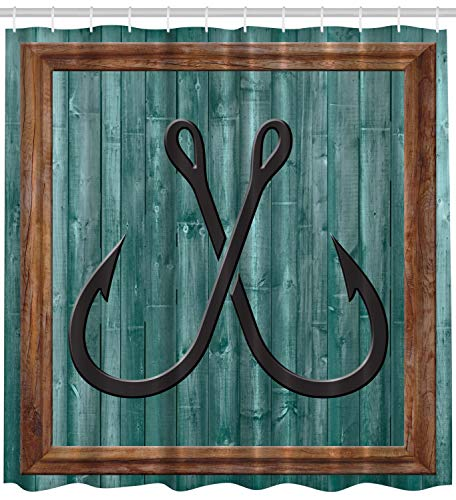 """Ambesonne Nautical Shower Curtain, Fishing Lures Anchor Modern Abstract Painting Wooden Frame Rustic, Cloth Fabric Bathroom Decor Set with Hooks, 70"""" Long, Teal Brown"""