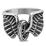 Autiga Cooler Edelstahl Herren-Ring Biker Flügel Engel Motorrad-Reifen Männer Gothic Silber 59 - Ø 18,78 mm