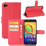 Tasche für Alcatel A5 Led (5.2 zoll) Hülle, Ycloud PU Ledertasche Flip Cover Wallet Hülle Handyhülle mit Stand Function Credit Card Slots Bookstyle Purse Design rote