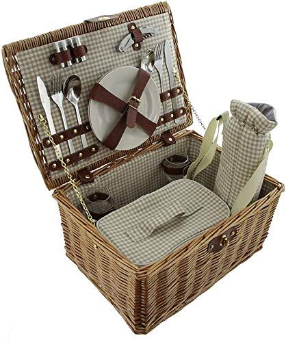 16 TLG Picknick-Korb aus Weide, Geschirr + Besteck und Gläser für 2 Personen, Kühltasche & Flaschenkühler