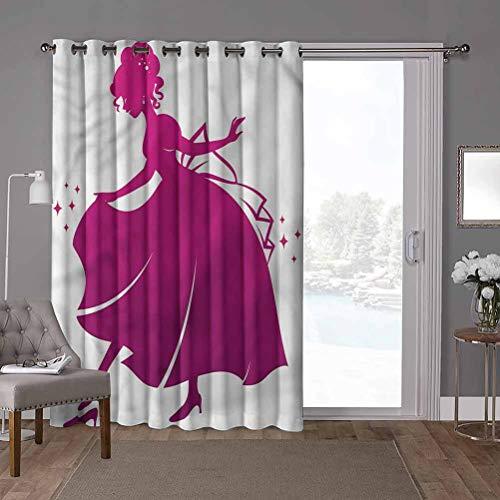 YUAZHOQI - Cortina térmica para puerta de cristal deslizante, princesa, zapatilla de cristal para niños, 52 x 84 pulgadas, persianas de privacidad para patio (1 panel)