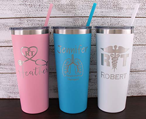 Personalized Respiratory Therapist Laser Engraved 22 oz Tumbler with Straw, Lungs, Therapist Gift, Doctor Gift, Assistant, RT, Therapist Student