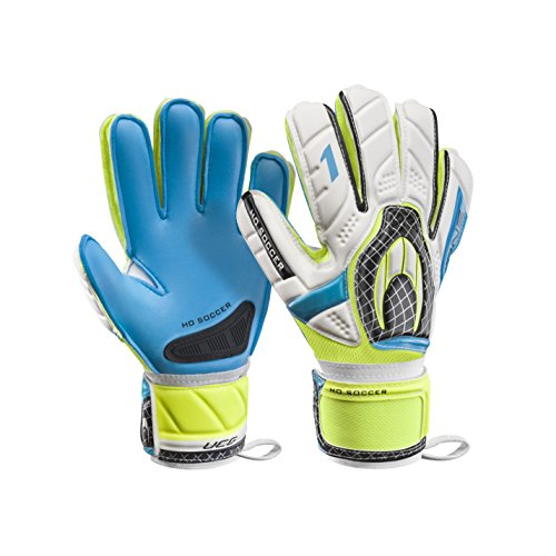 HO Soccer One Flat Torwarthandschuhe, Unisex Erwachsene 38 Weiß/Blau/Grün (Lime)
