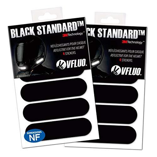 VFLUO Black Standard™, (Paquete de 2) Kit de 4 Pegatinas Retro Reflectantes para Casco de Moto, Visibilidad de Noche, 3M Technology™, Negro