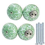 KaiKBax Pomos de cerámica verde para gabinete – Manijas de muebles en forma de calabaza Tiradores para gabinetes de baño de cocina, aparadores, cajones con tornillos, verde 4 piezas