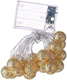 RTUTUR Luces de Vacaciones de Cuerda de luz de Metal, 20 Luces LED Fairy Decorative Globe Lamp Strings Powered L.