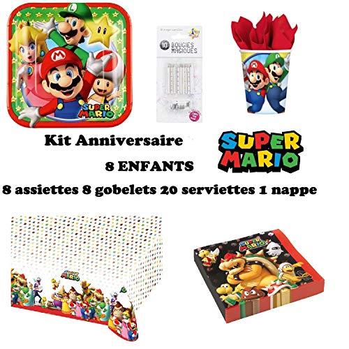 Set de Cumpleaños Completa Super Mario 8 niños (8 Platos, 8 Tazas, 20 servilletas,1 Mantel + 10 Velas mágicas ofrecidas) Fiesta Mesa de decoración