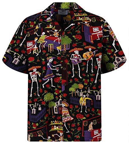 Camicia hawaiana da uomo casual button down manica corta unisex giorno dei morti Halloween teschi scheletri - nero - M