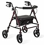 Medline Heavy Duty Rollator Walker with Seat, Bariatric Rolling Walker...