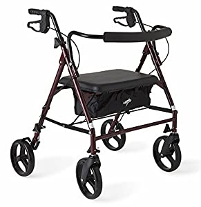 HEAVY DUTY STEEL FRAME - The Medline Bariatric Heavy Duty Rollator features a strong, reinforced steel frame to support up to 500 lbs LARGE 8 INCH WHEELS - Smooth rolling 8 inch wheels with reinforced spokes for extra strength easily roll on all indo...