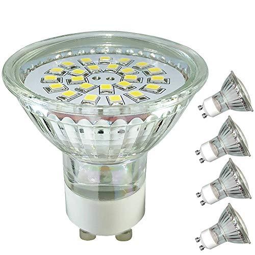 4er Pack,Glas GU10 LED dimmbar,Warmweiss Lampen,2700K Warmweiß,5W(ersatz Halogenlampen35W-50W),220V-240V, Glaslampenbecher,LED GU10 Reflektorlampe,120º Breiter Abstrahlwinkel