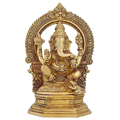 Indische Ganesha-Statue, große Messingfiguren, Hindu-Tempel, Puja Mandir, 24,1 cm, 3,12 kg