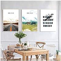 LLXHGモダンなミニマリストの風景と鳥のキャンバスの絵画レストランの寝室のソファの背景の壁のポスターぶら下げ絵画-50X70Cmx3Pcs非フレーム