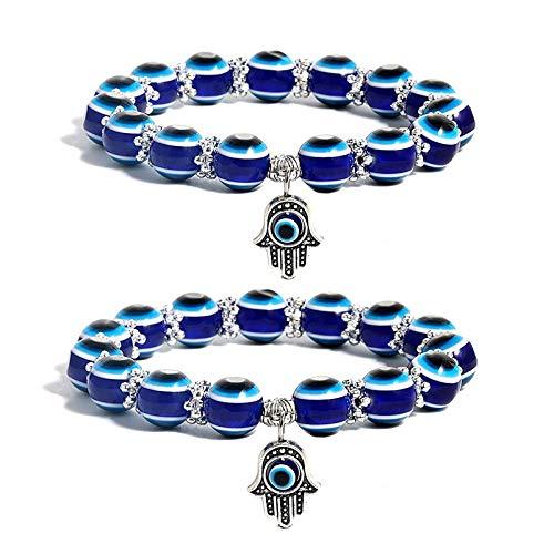 Pulsera elástica de Cuentas Redondas Azules de Hamsa Evil Eye de 2 Piezas, Pulsera de Amuleto de Mano de Fátima para Proteger la Suerte y Riqueza, Unisex, Regalo de joyería Delicada