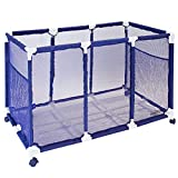 Essentially Yours Pool Noodles Holder, Toys, Floats, Balls and Floats Equipment Mesh Rolling Storage Organizer Bin, 42'x28'x28', Blue Mesh/White PVC