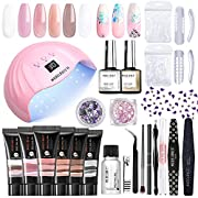 #LightningDeal Modelones Poly Extension Gel Nail Kit - 6 Colors with 48W Nail Lamp Slip Solution Rhinestone Glitter All In One Kit for Nail Manicure Beginner Starter Kit DIY at Home Kit Gift