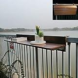 J+N Wandmontage Deckentisch Klapptisch Balkontisch aus Massivholz Tisch hängen Geländer Tisch, höhenverstellbar Gartentisch, for Balkongeländer Laptop Schreibtisch