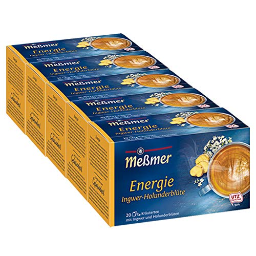 Meßmer Energie, Ingwer-Holunderblüte 20 TB, 5er Pack (5 x 40 g Packung)