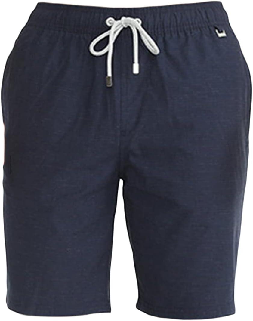 Men's Casual Plus Size Solid Cotton Shorts Elastic Waist Drawstring Workout Joggers Short Stylish Comfy Beach Shorts (Navy Blue,3X-Large)