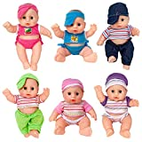 Liberty Imports Cute Lil Baby Doll Collection - Pack of 6 Assorted Mini Infant All Vinyl Dolls - Girls Toys Bulk Gift Bundle Party Favors Supplies (8 Inches Tall)
