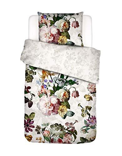 ESSENZA Bettwäsche Fleur Blumen Baumwollsatin Weiß, 135x200 + 1x 80x80 cm