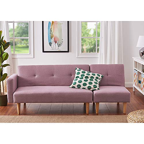 Panana Modern 2 Seater Settee Corner Sofa Bed with Foostool Fabric Love Seat Single Chair Lounge Chair Living Room Chair Guest Room Sofabed (Pink, 2 Seater Sofa + Single Chair)