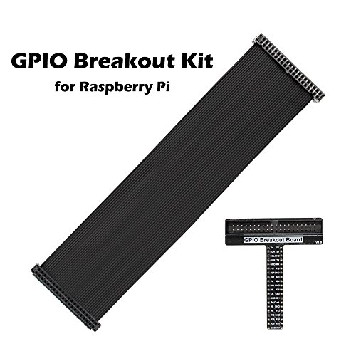 iUniker Raspberry Pi GPIO Breakout Kit, RPi GPIO Breakout Expansion Kit - Assembled T Type Pi Breakout + Ribbon Cable for Raspberry Pi 3B+/3B/2B/1B+