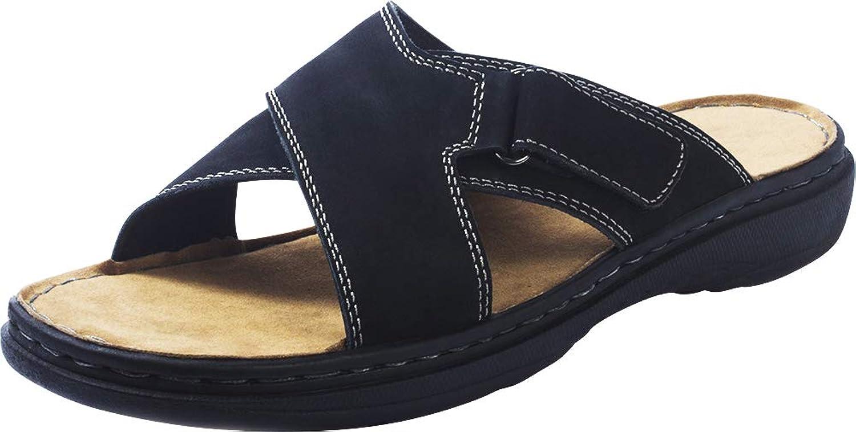 Cambridge Select Men's Open Toe Crisscross Padded Comfort Slip-On Flat Slide Sandal
