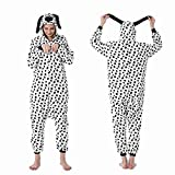 WEIYIing Adultos Perro Pijamas Lindo Stitch Animal Onesies Franela cálido Invierno Ropa de Dormir Fiesta Disfraces de Lujo-Perro Spot_L