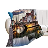 Throw Blanket for Couch Flannel Blankets Bruges Cityscape Belgium Travel Landscape Lightweight Ultra Soft for All Season Farmhouse Decorative Blanket for Bed Sofa Travel Birthday Gift 30x40 Inch