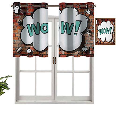 Hiiiman Cortina opaca para ventana con cenefa, color rojo, ladrillo, fondo británico, estilo pop Art Cloud de los años 90, juego de 1, 91,4 x 45,7 cm para interior, sala de estar, comedor o dormitorio