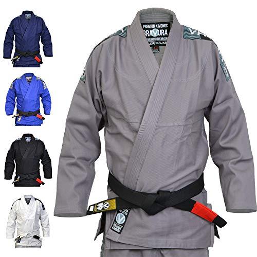 Valor Bravura BJJ GI Kimono color gris con cinturón blanco de regalo