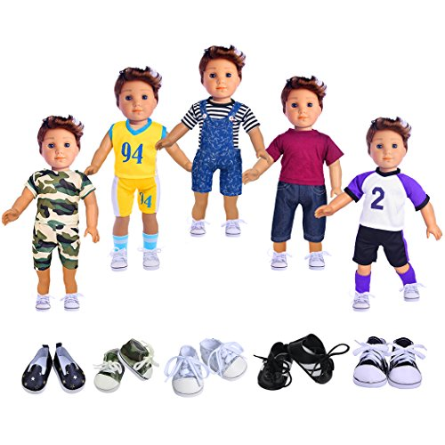 ebuddy Boy Doll Clothes Include 5 Outfits and 2 Pairs Shoes for 18 inch American Girl & Boy Dolls Logan Doll