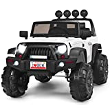 Costzon Ride on Truck, 12V Battery Powered Electric Vehicle w/ 2.4G Remote Control, 3 Speeds, LED Lights, Horn, MP3, Music, Double Magnetic Doors, Safety Belt, Ride on Car for Kids (White)