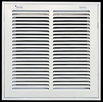 """Steel Return Air Filter Grille for 1"""" Filter - Easy Plastic Tabs for Removable Face/Door - HVAC Duct Cover - Flat Stamped Face"""