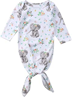 9faf14412d2a Newborn Baby Girl Floral Sleeper Gowns Long Sleeve Knotted Pajamas Sleeping  Bag Infant Coming Home Outfit