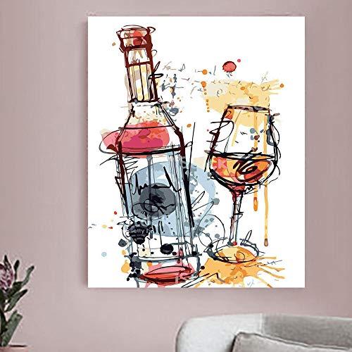 HDPDY Pintar por Numeros Adultos Niños DIY Paint By Number Kit Pintura Decoración del HogarDelicioso vino tinto - 40X50CM