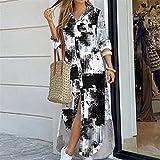 Vestido de camisa de manga larga para mujer Otoño Impreso Vestidos largos Cuello de rechazo suelto Sundress Vestidos de fiesta (Color : Tie dye print, Size : 2X-Large)