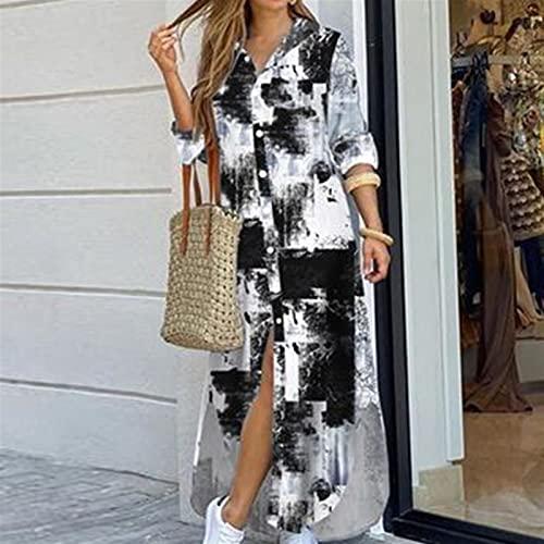 Vestido de camisa de manga larga para mujer Otoño Impreso Vestidos largos Cuello de rechazo suelto Sundress Vestidos de fiesta (Color : Tie dye print, Size : X-Large)