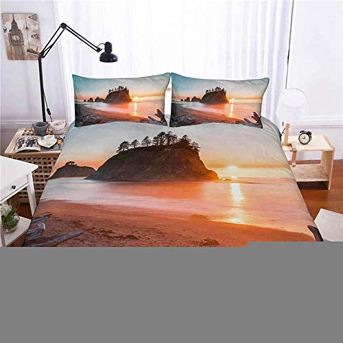 HZWL Duvet Cover Set Bedroom Bedding Set With Beach And Seaside Scenery Polyester Cotton Quilt Cover With Pillowcase H-Double 200 * 200cm