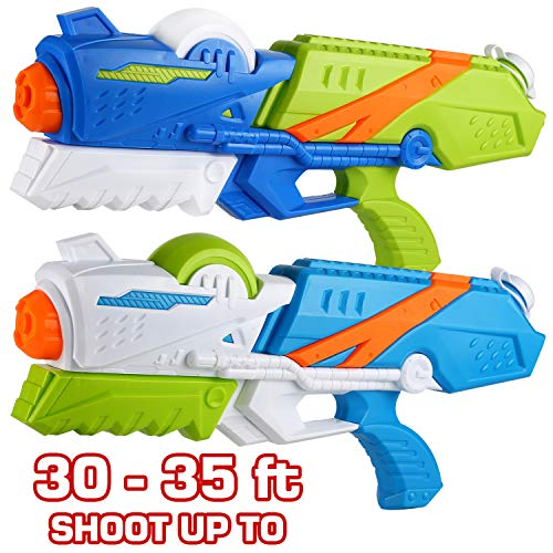 2 Pack Large Water Gun(16.5 inch), High Capacity&30-35 Feet Shooting Range Water Shooter for Kid Adult, Soaker Blaster Squirt Toy for Swimming Pool Party Beach Fight Activity for Child boy and Girl
