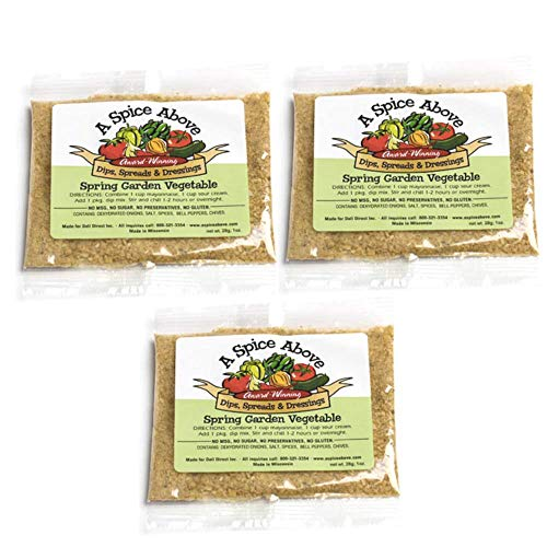 A Spice Above Dips, Spreads, and Dressing Mixed Seasonings Party Packets, 3 Pack (Spring Garden Vegetable)