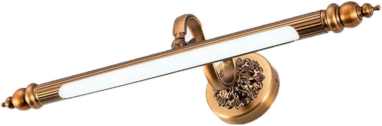 WJS LED-Spiegel-Scheinwerfer braun Badezimmerbraune Bronze-Spiegelfrontwandleuchte Europischer Spiegelschrank Wasserdichter Anti-Fog-Scheinwerfer (Farbe   Weies Licht, gre   57cm)
