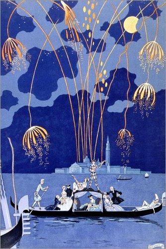 Póster 20 x 30 cm: Fireworks in Venice, Fetes Galantes de Georges Barbier/Bridgeman Images - impresión artística, Nuevo póster artístico